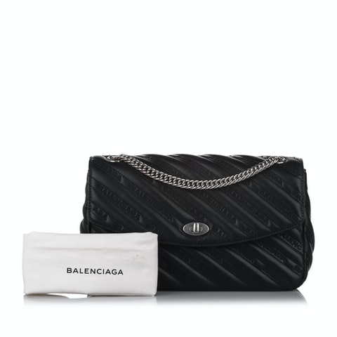 Allover Logo Lock Round Leather Crossbody Bag
