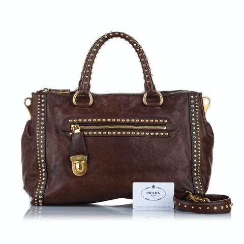 Studded Glace Calf Leather Satchel