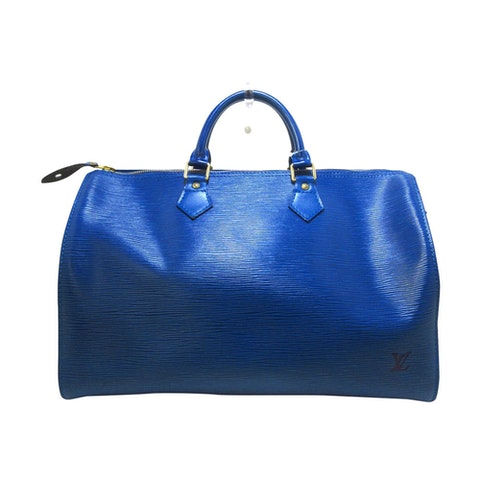 Speedy 35 blue leather travel bag