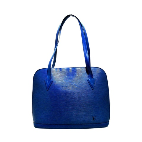Lussac blue leather shoulder/tote bag