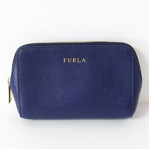 Navy Leather Cosmetic Pouch