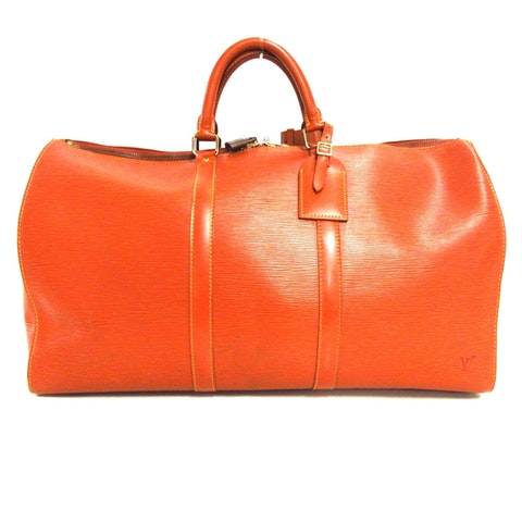 Keepall 50 orange leather travel bag