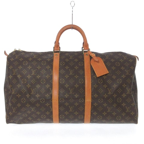 Brown canvas Keepall 55
