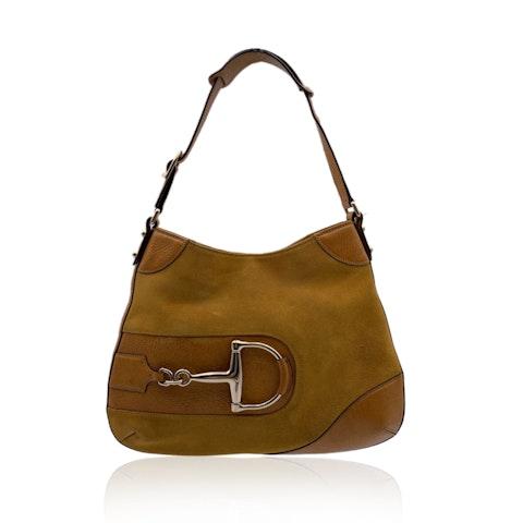 Gucci Yellow Suede and Leather Horsebit Hasler Hobo Shoulder Bag