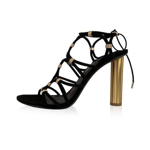 Salvatore Ferragamo Black Suede Fiuggi 105 Heeled Sandals 9C 39.5C