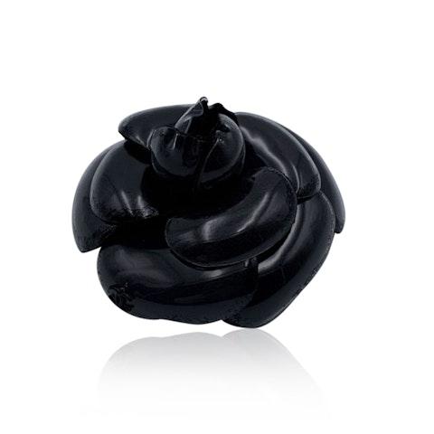 Chanel Vintage Black Plastic Camelia Camellia Flower Pin Brooch
