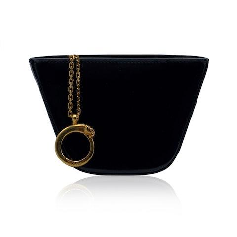 Cartier Vintage Black Leather Panthere Line Pouch Bag Purse