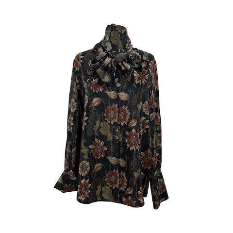 Salvatore Ferragamo Black Silk Floral Print Pussybow Shirt Size 42 IT