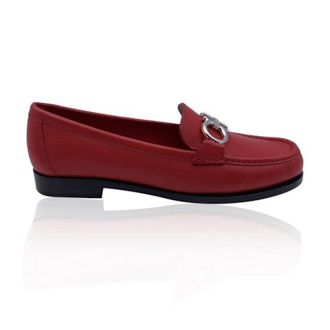 Salvatore Ferragamo Leather Rolo T Loafers Moccassins Size 6.5C 37C