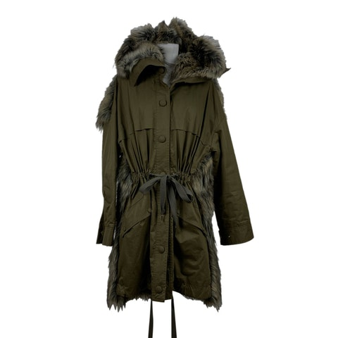 Military Green Parka Hooded Jacket Size 38 IT