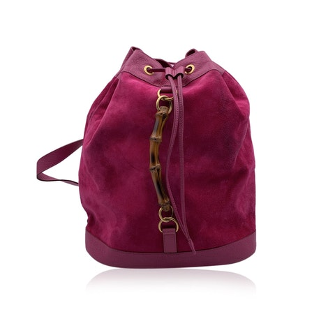 Gucci Vintage Pink Suede and Leather Bamboo Drawstring Backpack