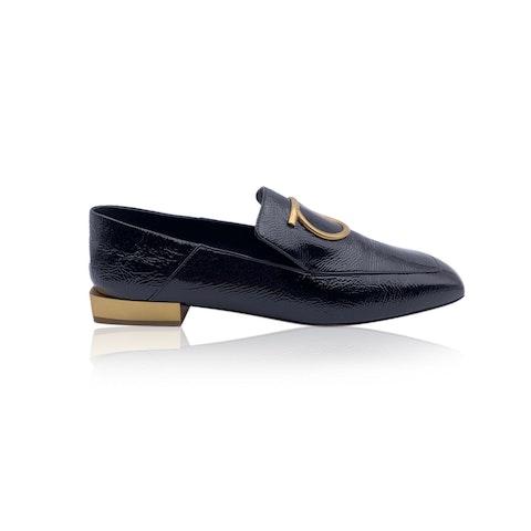 Salvatore Ferragamo Black Patent Leather Lana Loafers Size 7.5D 38