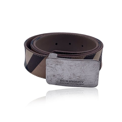 Burberry Beige Canvas Nova Check Unisex Belt Size 40/100
