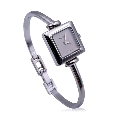 Gucci Vintage Stainless Steel Mod 1900 L Bangle Wrist Watch Silver Dial