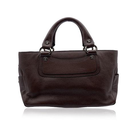 Celine Brown Leather Boogie Satchel Tote Bag Handbag Top Handles