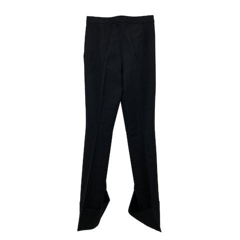 Black Wool Wide Leg Trousers Size 40 IT