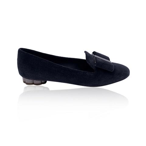 Salvatore Ferragamo Grey Velvet Sarno T Ballet Flat Size 8.5C 39C