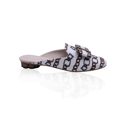 Salvatore Ferragamo Chain Sciacca Twill Shoes Size US 10.5C EU 41