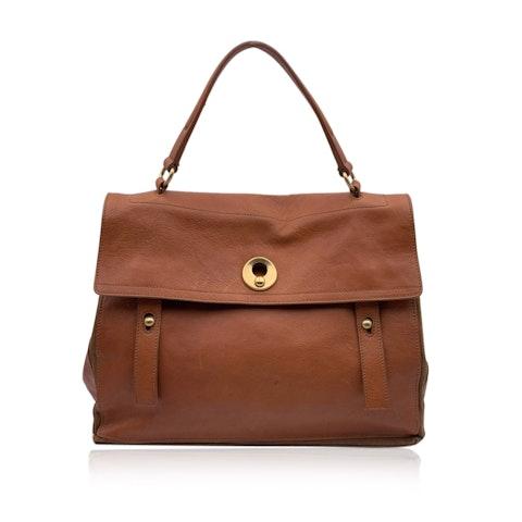 Yves Saint Laurent Tan Leather Suede Muse 2 Two Satchel Bag Handbag