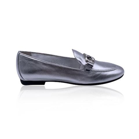 Salvatore Ferragamo Silver Leather Trifoglio Loafers Size 8C 38.5C