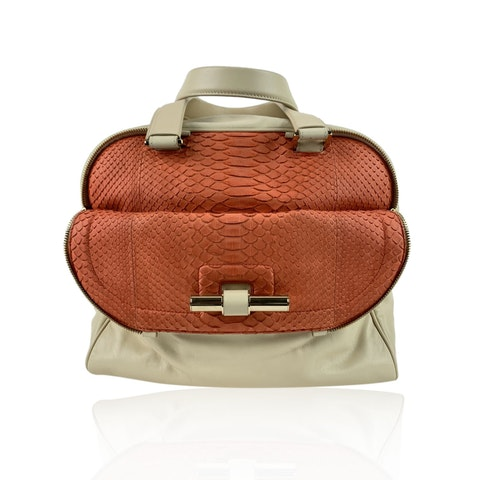 Lvory and Pink Leather Justine hand bag