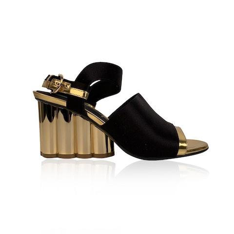Salvatore Ferragamo Black Satin Greci 70 Heeled Sandals US 7.5C EU 38