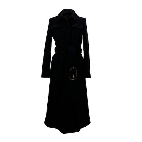 Black Wool Belted Coat Size 38 IT