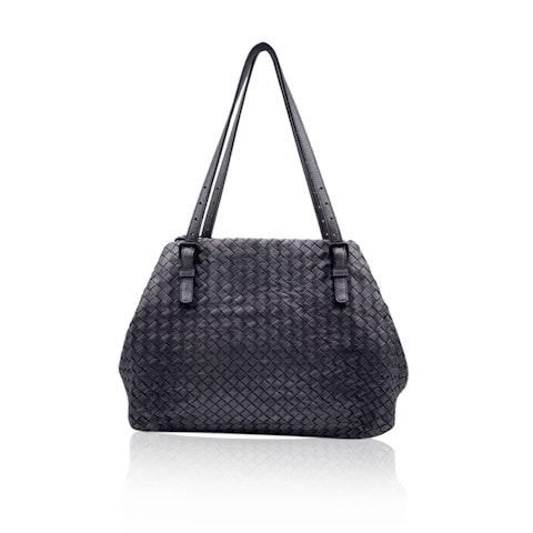 Bottega Veneta Silver Intrecciato Woven Leather Tote Shoulder Bag