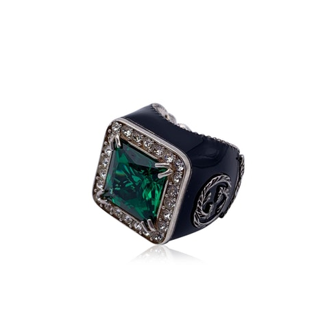 Gucci Enamel Sterling Silver Green Crystals Ring Size 11 Never Worn