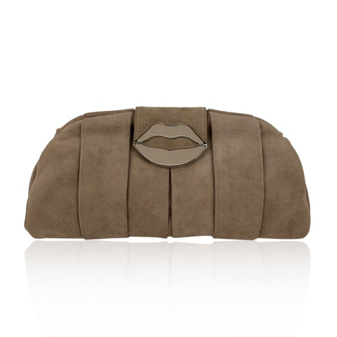 Pink Suede Lips Clutch Evening Bag