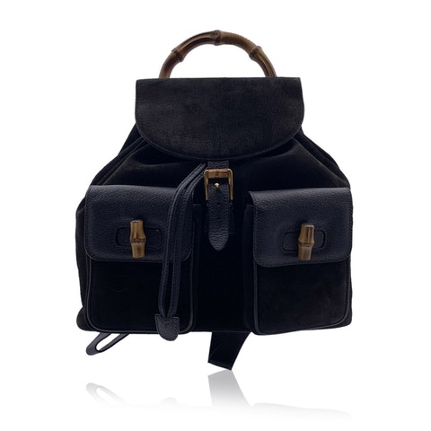 Gucci Vintage Black Suede and Leather Medium Bamboo Backpack Bag