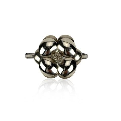 Chanel Vintage Silver Metal Camellia Flower Bangle Bracelet