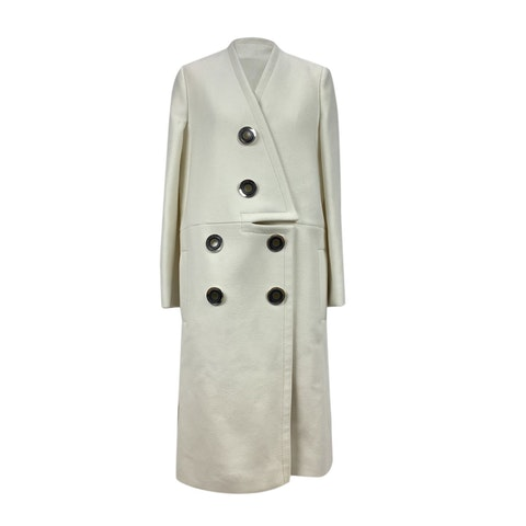 White Wool Blend Susie Coat Size 40 IT