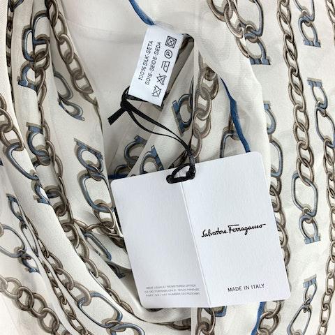 Salvatore Ferragamo White Silk Catena Chain Oblong Scarf