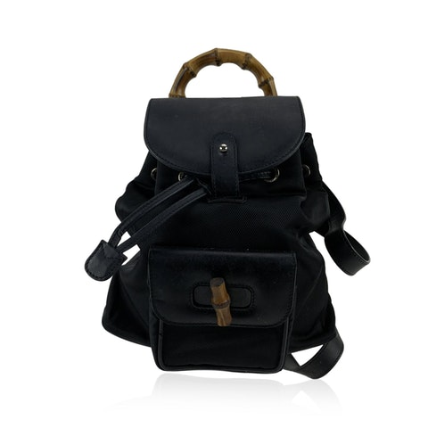 Vintage Black Canvas Small Bamboo Backpack