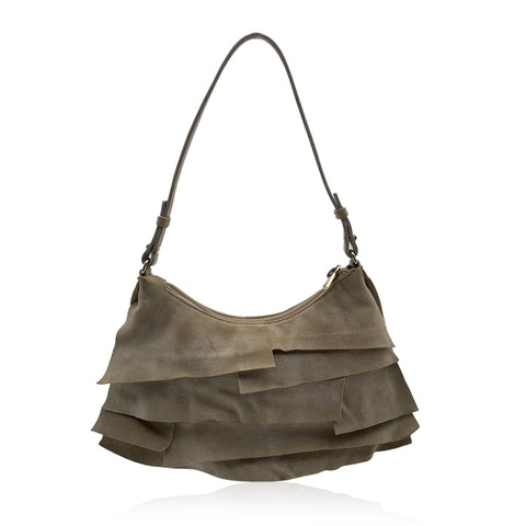 Beige Ruffled Suede Small St Tropez Bag