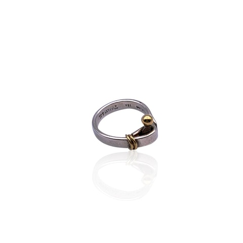 Tiffany & Co. Sterling Silver 18k Yellow Gold Hook Ring Size 15