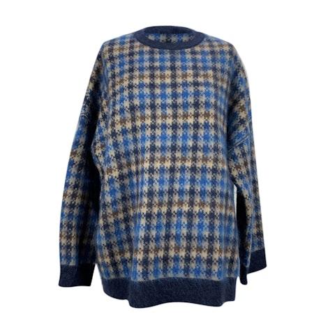 Blue Check Wool Oversized Sweater Size 40 IT