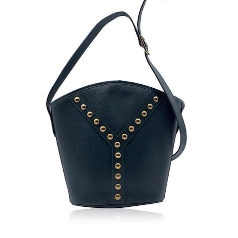 Yves Saint Laurent Vintage Green Leather Studded Bucket Shoulder Bag