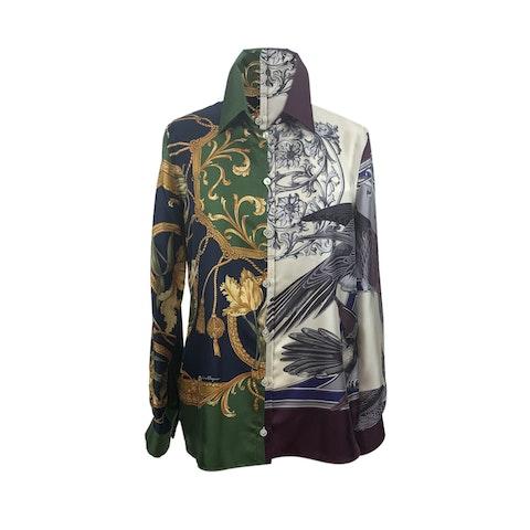 Salvatore Ferragamo Multi Print Silk Button Down Shirt Size 42 IT