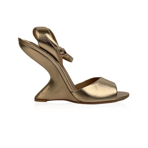 Salvatore Ferragamo Gold Leather Arsina Wedge Sandals US 7.5C EU 38