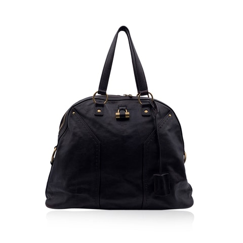 Yves Saint Laurent Brown Leather Large Muse Tote Shoulder Bag