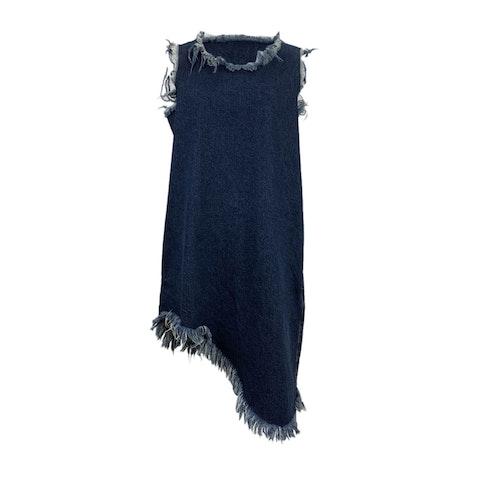Marques Almeida Blue Denim Denim Shift Asymmetrical Dress Size S