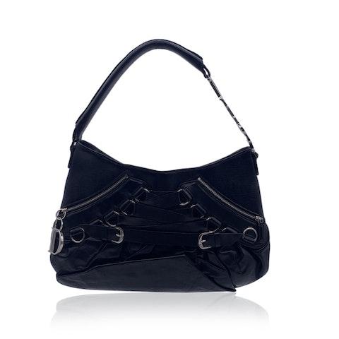 Christian Dior Black Leather Lace Up Corset Shoulder Bag