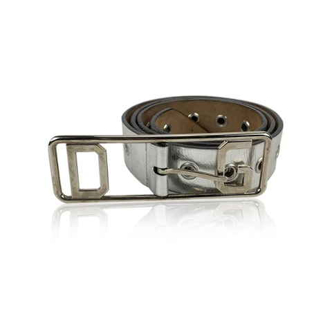 Silver Leather Belt Perforated Studs Size 42/90