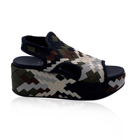 Salvatore Ferragamo Woven Fabric Wedge Sandals US 7 EU 37.5