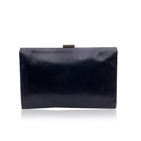 Gucci Vintage Black Leather Portfolio Bag Purse Handbag