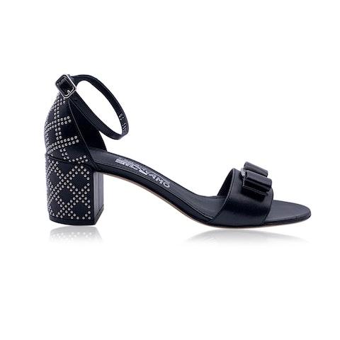Salvatore Ferragamo Leather Gavina Qs Heeled Sandals US 8.5C EU 39