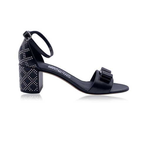 Salvatore Ferragamo Leather Gavina Qs Heeled Sandals US 9.5C EU 40