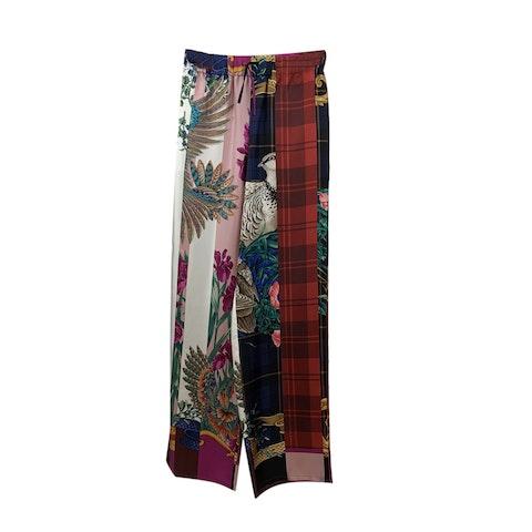 Salvatore Ferragamo Multicolor Silk Palazzo Trousers Size 42 IT